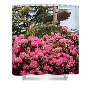 Pink Rhododendrons With Totem Pole Shower Curtain