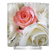 Pink Rose Among White Roses Shower Curtain