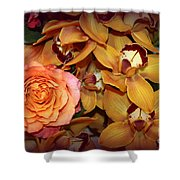 Pink Rose And Yellow Orchids Shower Curtain