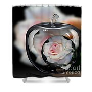 Pink Rose In Apple Shower Curtain