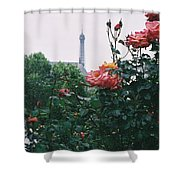 Pink Roses And The Eiffel Tower Shower Curtain