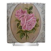 Pink Roses Oval Framed Shower Curtain
