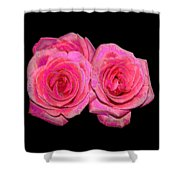 Pink Roses With Enameled Effects Shower Curtain