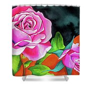 Pink Roses With Orange Shower Curtain