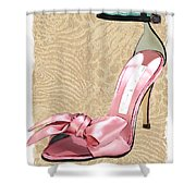 Pink Satin Ankle Straps On Safari Shower Curtain