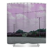 Pink Sky And Trains Shower Curtain