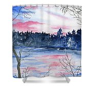 Pink Sky Reflections Shower Curtain