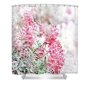 Pink Snapdragons Watercolor Shower Curtain