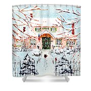 Pink Snow House Shower Curtain