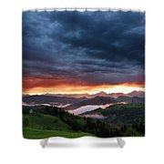 Pink Sunrise And Blue Clouds In The Mountains Of Kamnik Savinja  Shower Curtain
