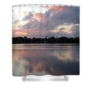 Pink Sunrise With Dramatic Clouds And Steeple On Jamaica Pond Shower Curtain