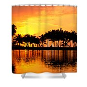 Pink Sunset And Palms Shower Curtain