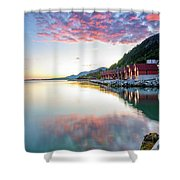 Pink Sunset Over A Lagoon In Norway Shower Curtain