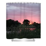 Pink Sunset With Green Riverbank Shower Curtain