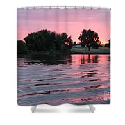 Pink Sunset With Soft Waves Shower Curtain