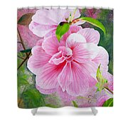 Pink Swirl Garden Shower Curtain by Shelley Irish