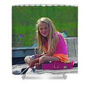 Pink Tackle Box Shower Curtain