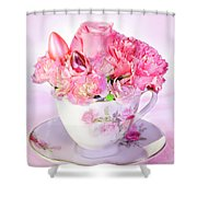 Pink Teacup Bouquet Shower Curtain