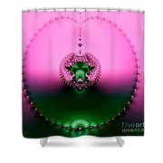 Pink Topaz And Emerald Green Necklace Fractal Shower Curtain