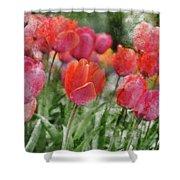 Pink Tulip Macro Shower Curtain