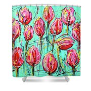 Pink Tulip, Turquoise Shower Curtain