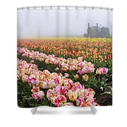 Pink Tulips And Tractor Shower Curtain