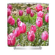 Pink Tulips By Peaceful Pond Shower Curtain