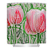 Pink Tulips With Block Effect Shower Curtain