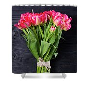 Pink Tulips On Black Shower Curtain