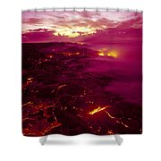 Pink Volcano Sunrise Shower Curtain
