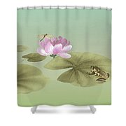 Pink Water Lily And Frog Shower Curtain