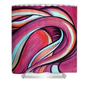 Pink Wave Of Energy. Abstract Vision Shower Curtain