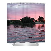 Pink Waves Sunset Shower Curtain