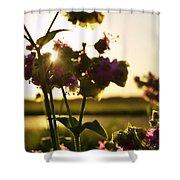 Pink Wildflower Sunset I Shower Curtain