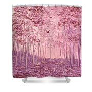 Pink Woods Shower Curtain