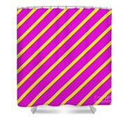 Pink Yellow Angled Stripes Shower Curtain