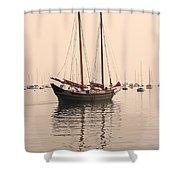 Pinky Schooner Maine Shower Curtain