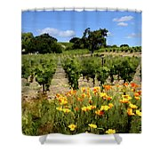Pinot Noir And Poppies Shower Curtain