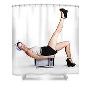 Pinup Girl Balancing On Television Set Shower Curtain