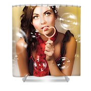 Pinup Girl Blowing Love Kiss. American Retro Style Shower Curtain
