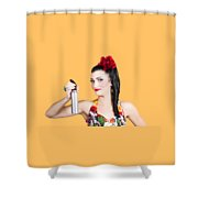Pinup Woman Holding A Cleaning Spray Bottle Shower Curtain