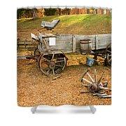 Pioneer Wagon And Broken Wheel Shower Curtain