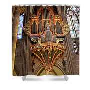 Pipe Organ In Strasbourg Cathedral Shower Curtain
