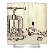 Pipe Vise Shower Curtain