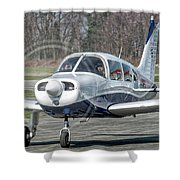 Piper Pa28 I-cnpg Taxiing To The Runway Shower Curtain