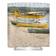 Piper Super Cub Floatplane Near Pond In Maine Canvas Poster Print Shower Curtain