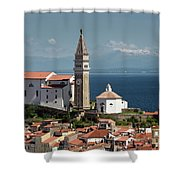 Piran Slovenia With St George's Cathedral Belfry And Baptistery  Shower Curtain