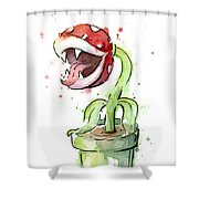 Piranha Plant Watercolor Shower Curtain
