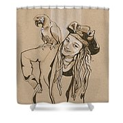 Pirate And Parrot Shower Curtain