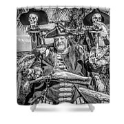 Pirate Captain And Parrots Black And White Shower Curtain